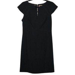Rebecca Taylor Seamed Silk Shift Dress in Black
